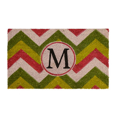 Christmas Chevron Monogram M Doormat