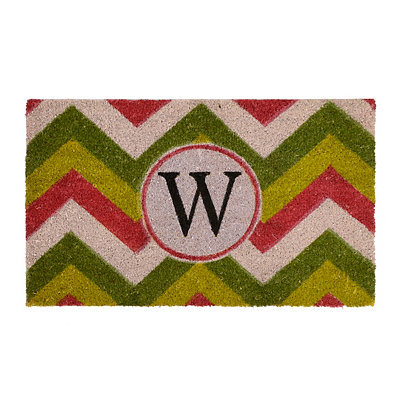 Christmas Chevron Monogram W Doormat
