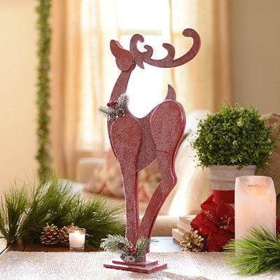Red Glittered Reindeer Statue