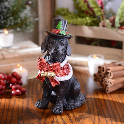 Christmas Paws Black Lab Statue