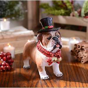 Christmas Paws Bulldog Statue