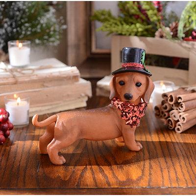 Christmas Paws Dachshund Statue