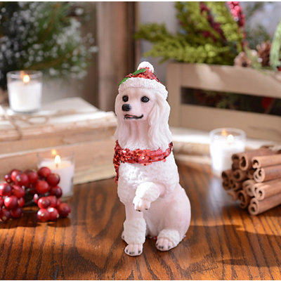 Christmas Paws Poodle Statue