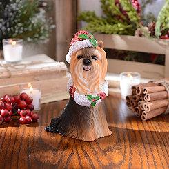 Christmas Paws Yorkie Statue