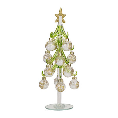 Glass Christmas Tree with Snowflake Ornaments