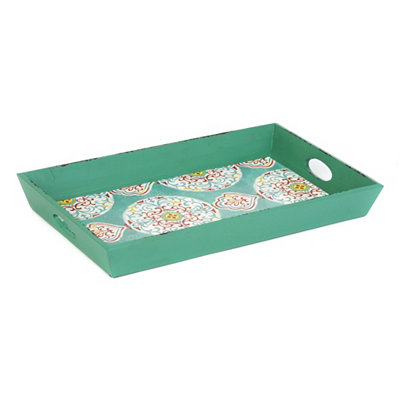 Distressed Turquoise Medallion Print Tray