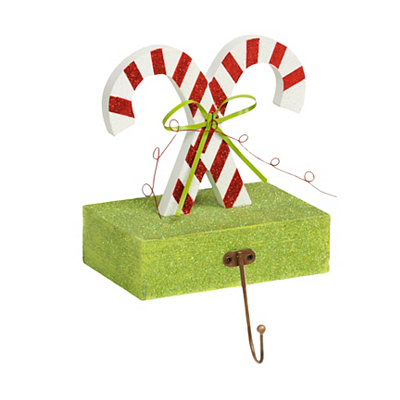 Wooden Candy Cane Stocking Holder