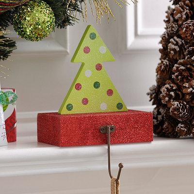 Wooden Christmas Tree Stocking Holder