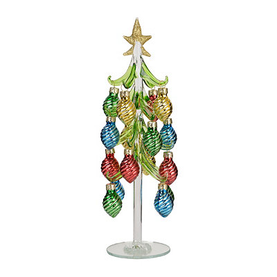Glass Christmas Tree with Bulb Ornaments