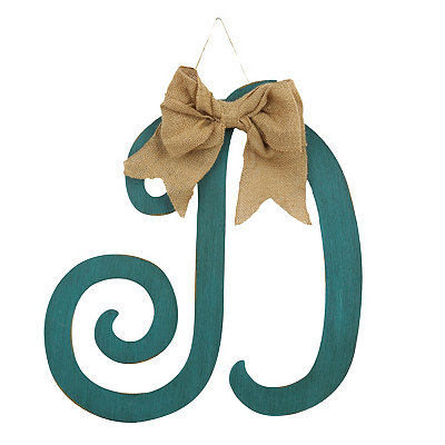 Antique Teal Monogram D Plaque