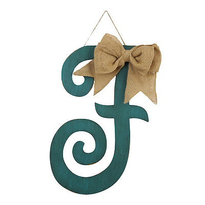 Antique Teal Monogram F Plaque