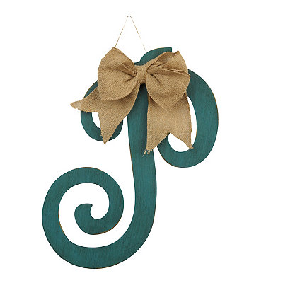 Antique Teal Monogram P Plaque