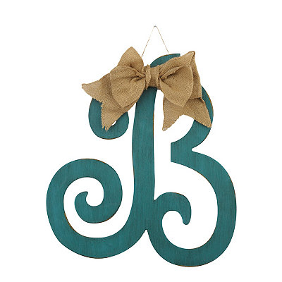 Antique Teal Monogram B Plaque