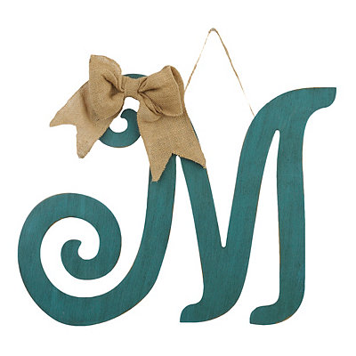 Antique Teal Monogram M Plaque