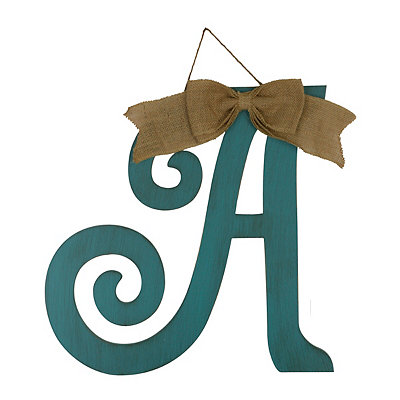 Antique Teal Monogram A Plaque