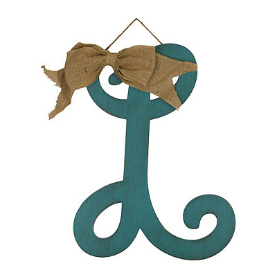 Antique Teal Monogram L Plaque