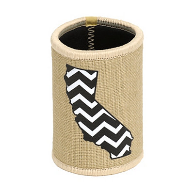 Burlap Chevron California Koozie