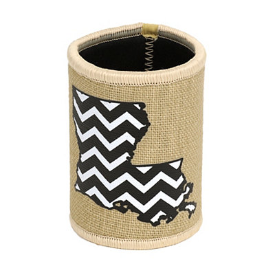 Burlap Chevron Louisiana Koozie