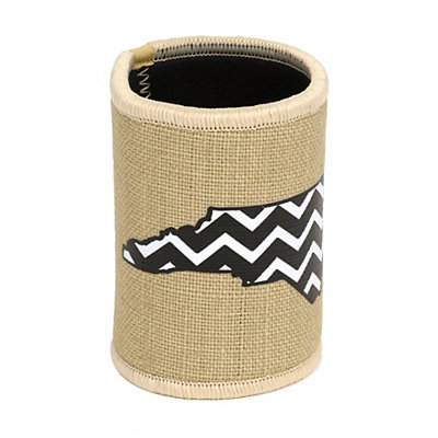 Burlap Chevron North Carolina Koozie