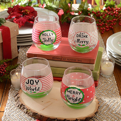Merry Christmas Stemless Wine Glass, Set of 4