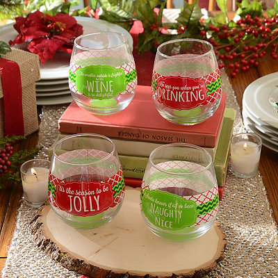 Very Merry Stemless Wine Glass, Set of 4