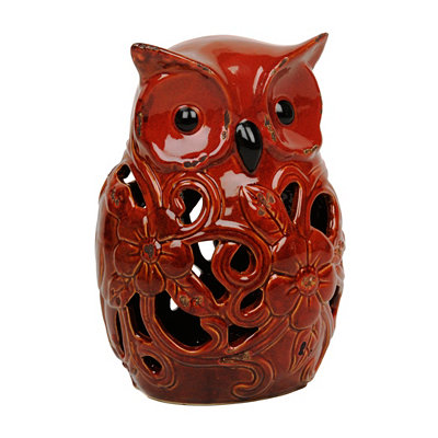 Red Cutout Flower Owl Statue