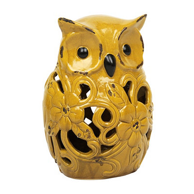 Yellow Cutout Flower Owl Statue