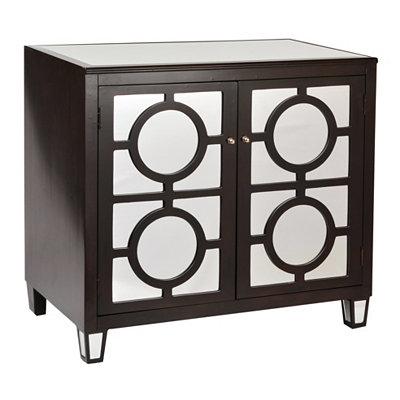 Espresso Mirrored Circles Cabinet