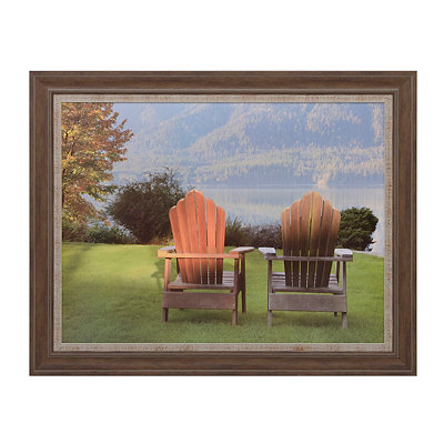 Lakeside Chairs Framed Art Print