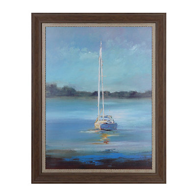 Blue Sailboat Framed Art Print