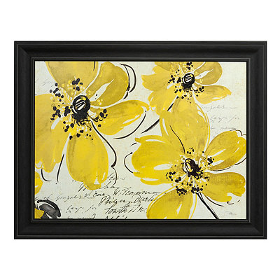 Windy Yellow Floral Framed Art Print