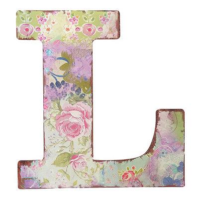 Vintage Floral Monogram L Plaque