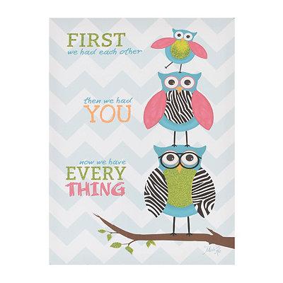 Owl Family Canvas Plaque