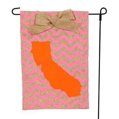 California Burlap Flag Set