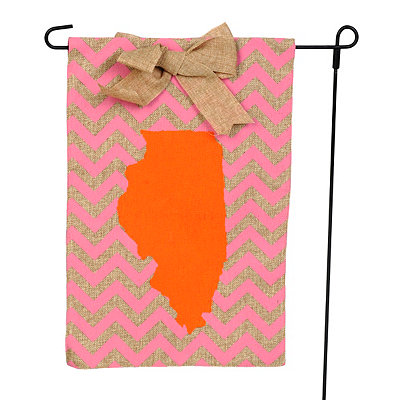 Illinois Burlap Flag Set