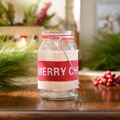 Red Merry Christmas Candle Holder