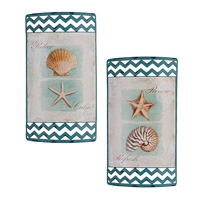 Spa Shells Metal Signs, Set of 2