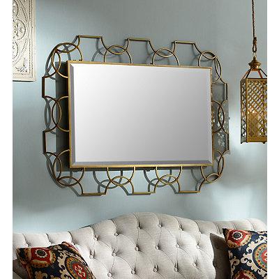 Geometric Gold Framed Mirror, 48x32
