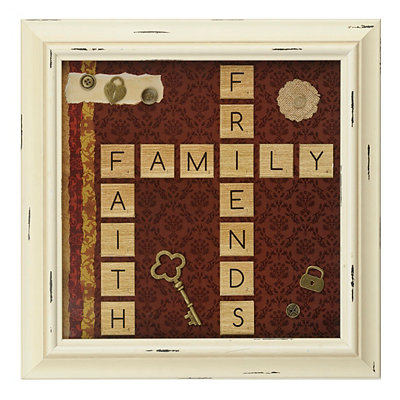 Friends, Family, Faith Scrabble Shadowbox