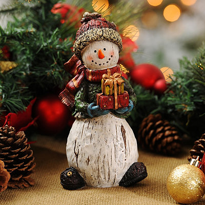 Rustic Gift-Giving Snowman Statue