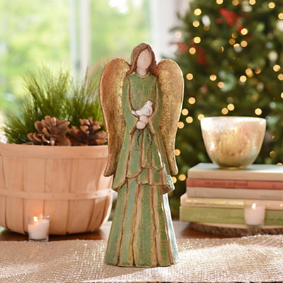 Rustic Green Angel Statue