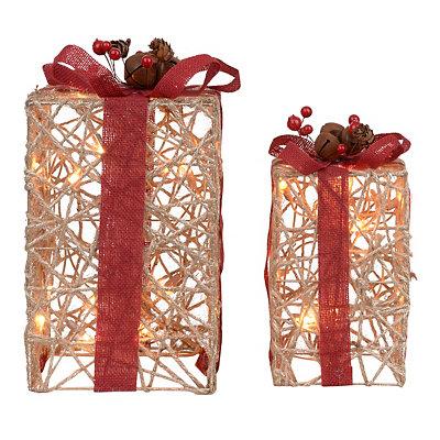 Natural Linen Pre-Lit Gift Boxes, Set of 2