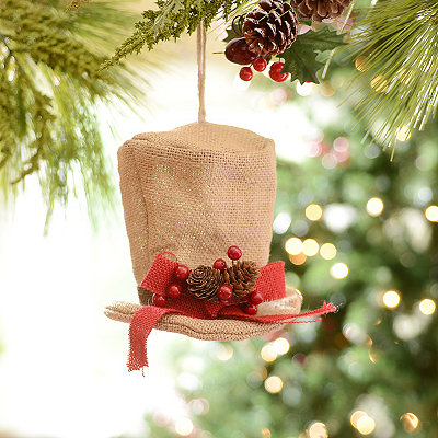 Tan Burlap Top Hat Ornament
