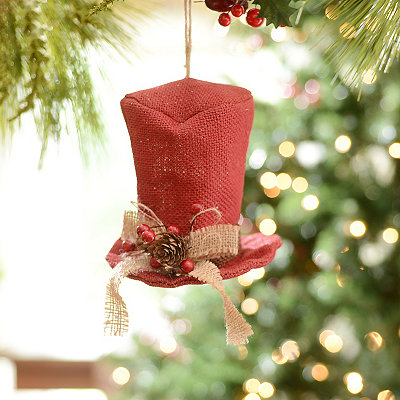 Red Burlap Top Hat Ornament