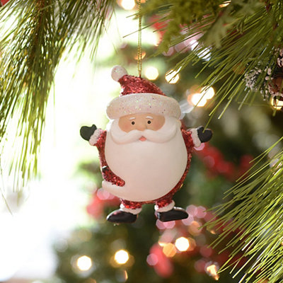 Red Glitzy Santa Ornament