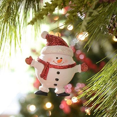 Red Glitzy Snowman Ornament