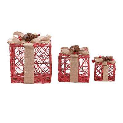 Rustic Red Linen Cord Gift Boxes, Set of 3