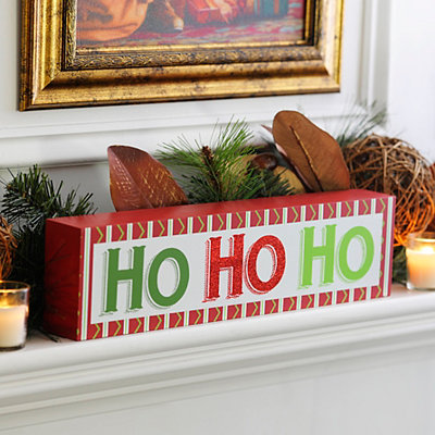 Red & Green Ho Ho Ho Word Block