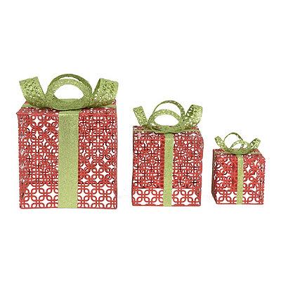 Red Glitter Metal Gift Box, Set of 3