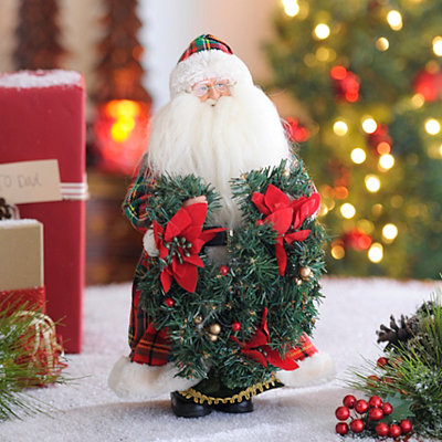 Plaid Santa Statue with Poinsettias